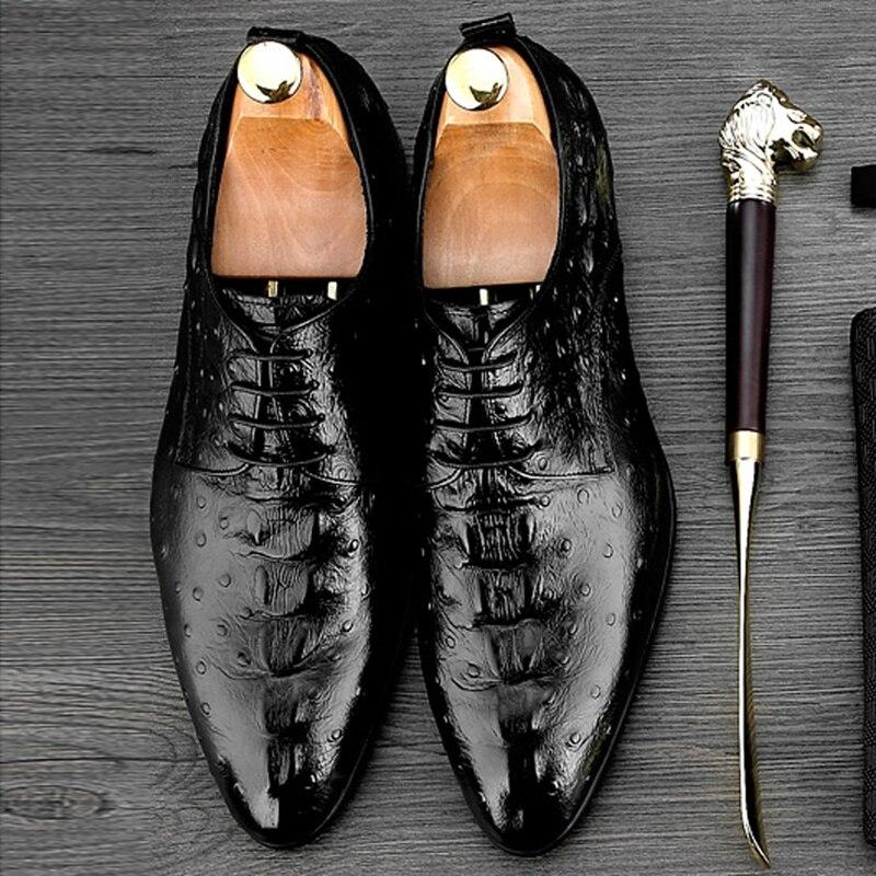 Italiano Negro Vestido Up Calzado Formal Hombre Ne33 vino Avestruz Patrón Genuino Punta Boda Derby Tinto De Lace Partido Baile Cuero Del nrxUrS
