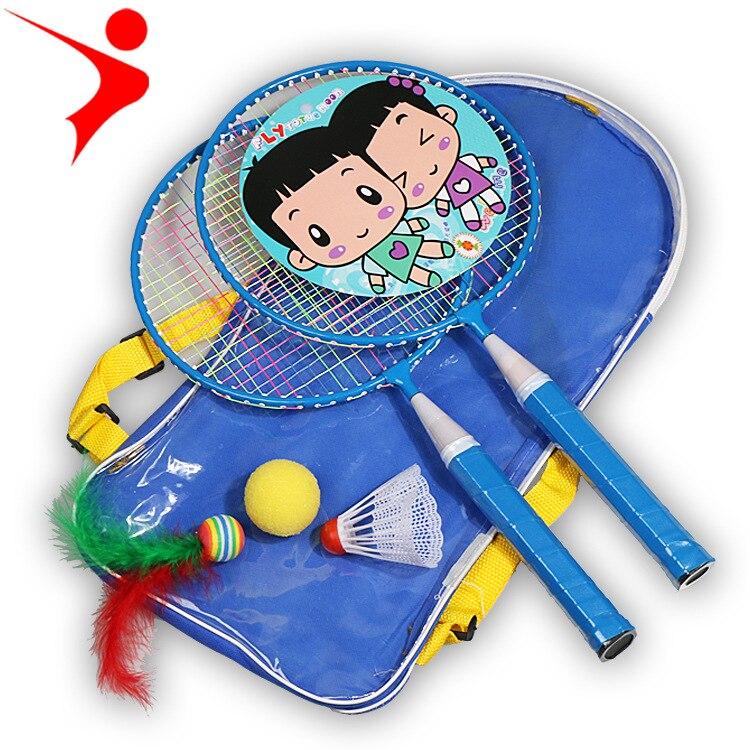 2pcs Ferroalloy Children's Ball Games New Cartoon Children's Badminton Racket Children Training Parenting