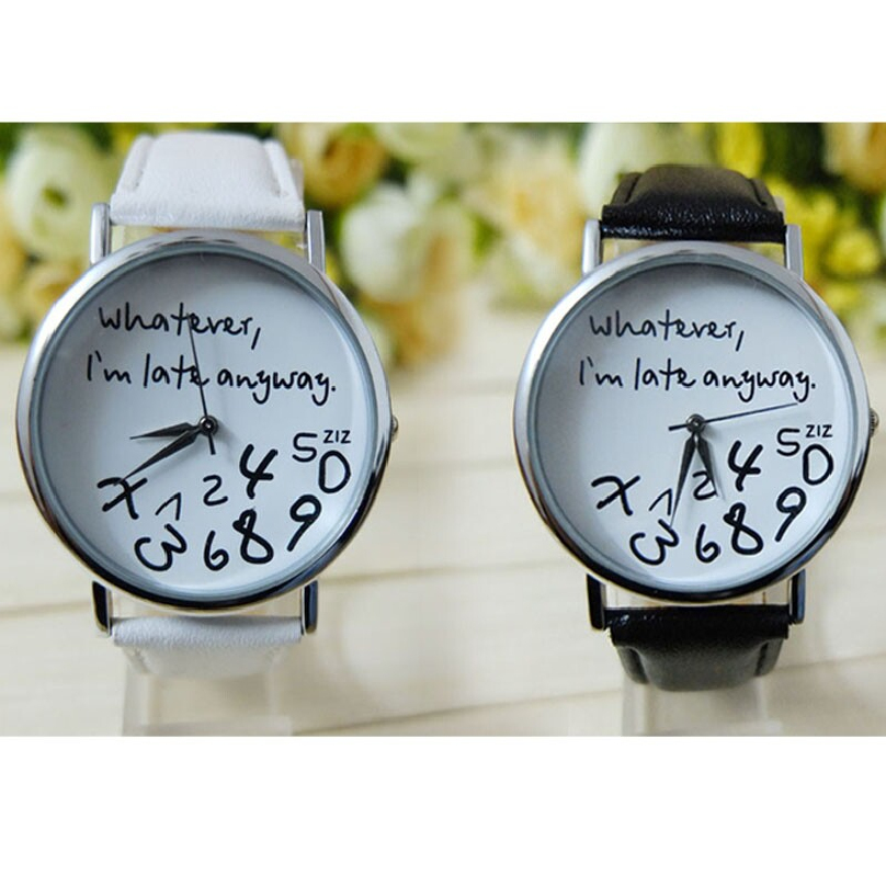 Mance whatever i am late anyway letter pattern leather men women watches fresh new style woman