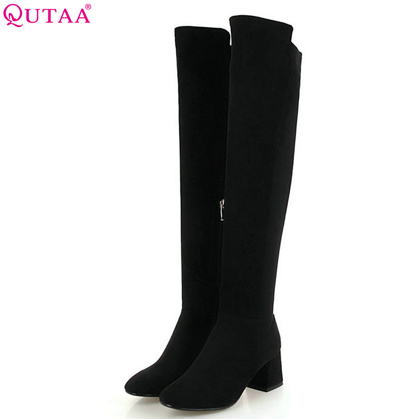 QUTAA 2019 Women Over The Knee High Boots Fashion Zipper Elegant Black Sexy High Quality Winter Boots Women Boots Big Size 34-43 free shipping high quality cheaper price over the knee 10cm high heel women boots fashion women zipper spring winter boots