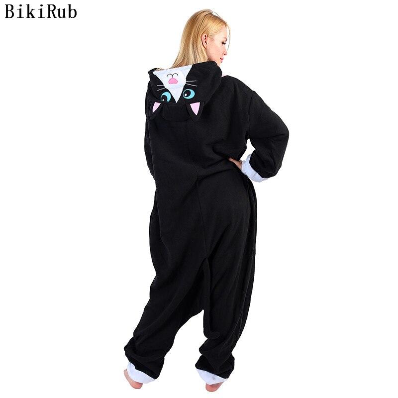 Women   Pajamas   Female Polar Fleece Sleepwear Cute Black Cat Cartoon Pyjama Winter Kigurumi Animal Long Sleeve   Pajama     Set   Pijama