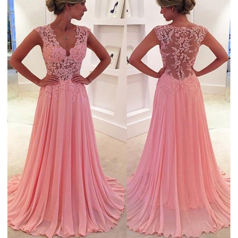 Party-Gown Pink Evening Dress Lace Chiffon A-Line Evening Dresses Long Plus Size Transparent Formal Gown robe-de-soiree Cheap title=