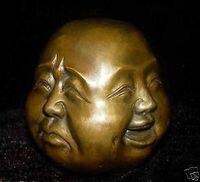 super 4 expression Copper Face Buddha Tibet 8.5x8x7cm Garden Decoration 100% real Brass Bronze