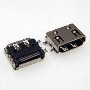 Prise femelle HDMI-19P, 50 pièces, 19 broches, 180 degrés, 4 pieds, prise HDMI