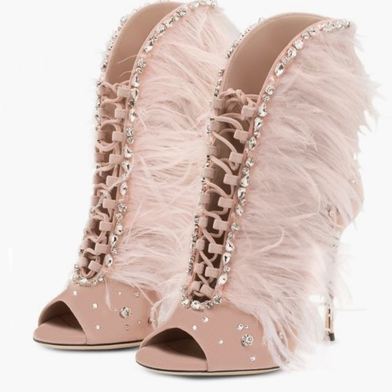 Women Flock Sandals High Heels Summer 8 Cm Up Gladiator Feather Sandals Lace Up Sandals Open Toe Ladies Party Wedding Shoes luxury women shoes high heel sandals lace up heels open toe crystal embellishment laides party nude sandals fashion footwear