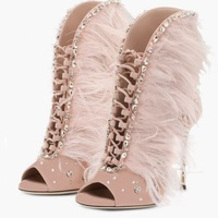 Women Flock Sandals High Heels Summer 8 Cm Up Gladiator Feather Sandals Lace Up Sandals Open Toe Ladies Party Wedding Shoes