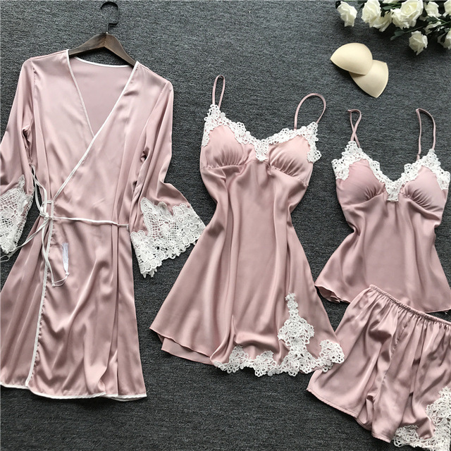 4 PIECES SPAGHETTI STRAP SEXY WOMEN NIGHTWEAR (3 VARIAN)