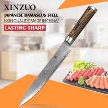 2016 HIGH QUALITY XINZUO 8″ inch Damascus steel kitchen knife Sashimi knife 73 layers Japanese VG10 cleaver knife free shipping