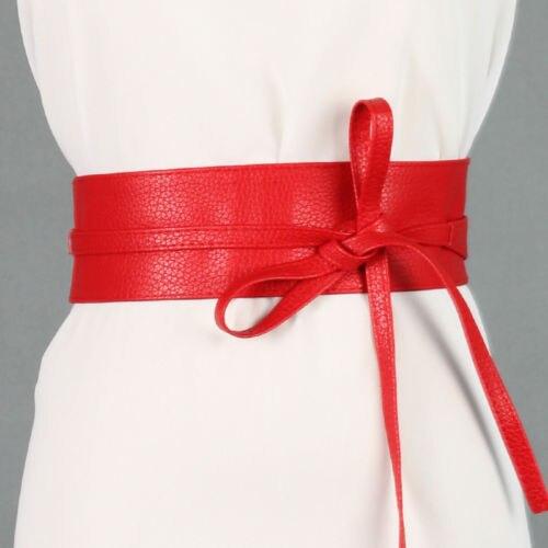 2018 Fashion Womens Soft PU Leather Self Tie Bow Wrap Around Waist Band Cinch Boho   Belt
