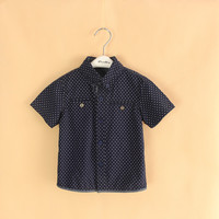 Wholesale 6pcs Lot 2014 New Baby Boys Short Sleeve Shirt Kids Fashion Polka Dot Shirt Boys