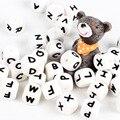 1p буквы, силиконовые бусины, для детей, для прорезывания зубов, цепочка для сосков, без БФА, алфавитные бусины с буквами, бусины из пищевого с...