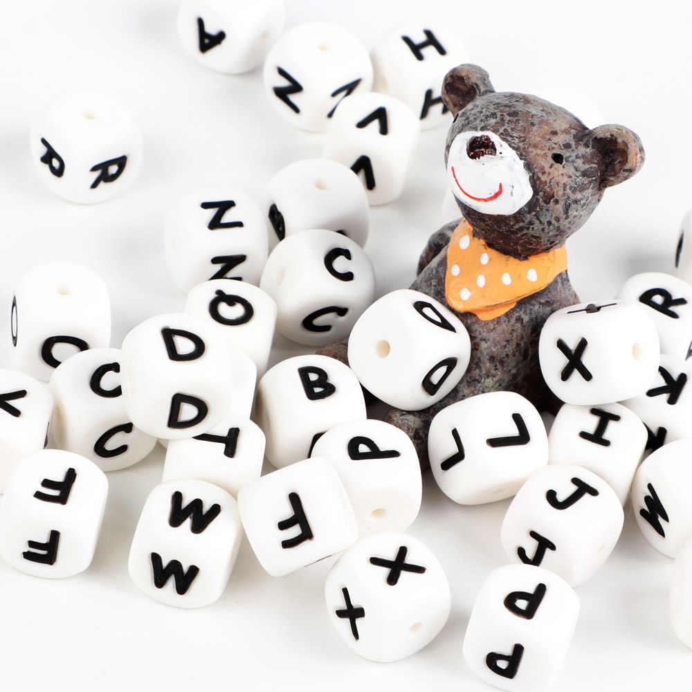 1p list kulki silikonowe dziecko ząbkowanie DIY łańcuch sutek BPA darmowe alfabet koraliki z literą Food Grade silikonowy naszyjnik z koralikami