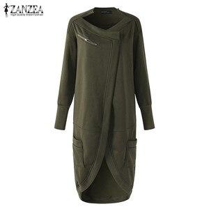 Image 5 - ZANZEA 2020 Asymmetrical Hoodies Dress Womens Sweatshirts Autumn Casual Long Sleeve Pullovers Zipper Midi Vestidos Plus Size