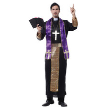 Adult Men Christian Missionaries Preacher Pastor Priest Cosplay Costume Halloween Purim Party Carnival Mardi Gras Costumes halloween jesus costume drama male missionary maria white priest christian priest pope men cosplay clothing