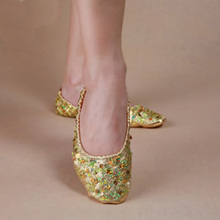 New Arrival 2017 sequins belly dance Shoes with sequins on Gold Silver S M L XL