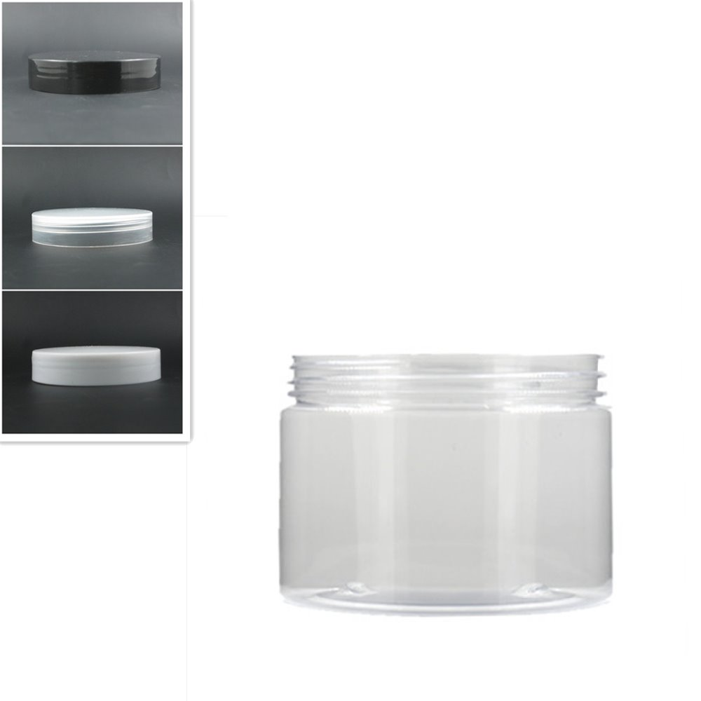 300ml/10oz Clear Round Pet Jar Bottle Container With White/black Plastic Cap Lids For Cosmetic,food, Packaging,