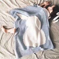 Babydecke Niedlichen Kaninchen Gestrickte Decke kinder Baby Kinder Jungen Mädchen Baumwolle Bett Decke Super Weiche Bettdecke Sofa Air Mantas