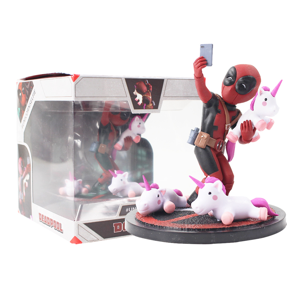 Funny Deadpool unicorn selfie figure