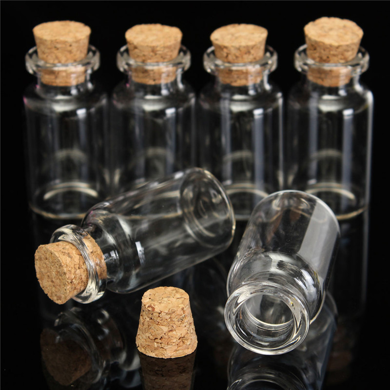 New 10pcs 45x24mm 12ml Small Cute Mini Cork Stopper Glass Bottles Vials Jars Containers Small Wishing Bottle Glass Craft