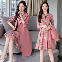 YASUGUOJI New 2019 Spring Fashion Floral Dress with Long Blazer Coat Women Business Dress for Women Office Womens Suits Dresses