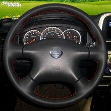 Cobertura de Volante de Couro para Nissan Almera N16 BANNIS de Idade X-Trail XTrail Paladin Pathfinder Primera 2001-2006