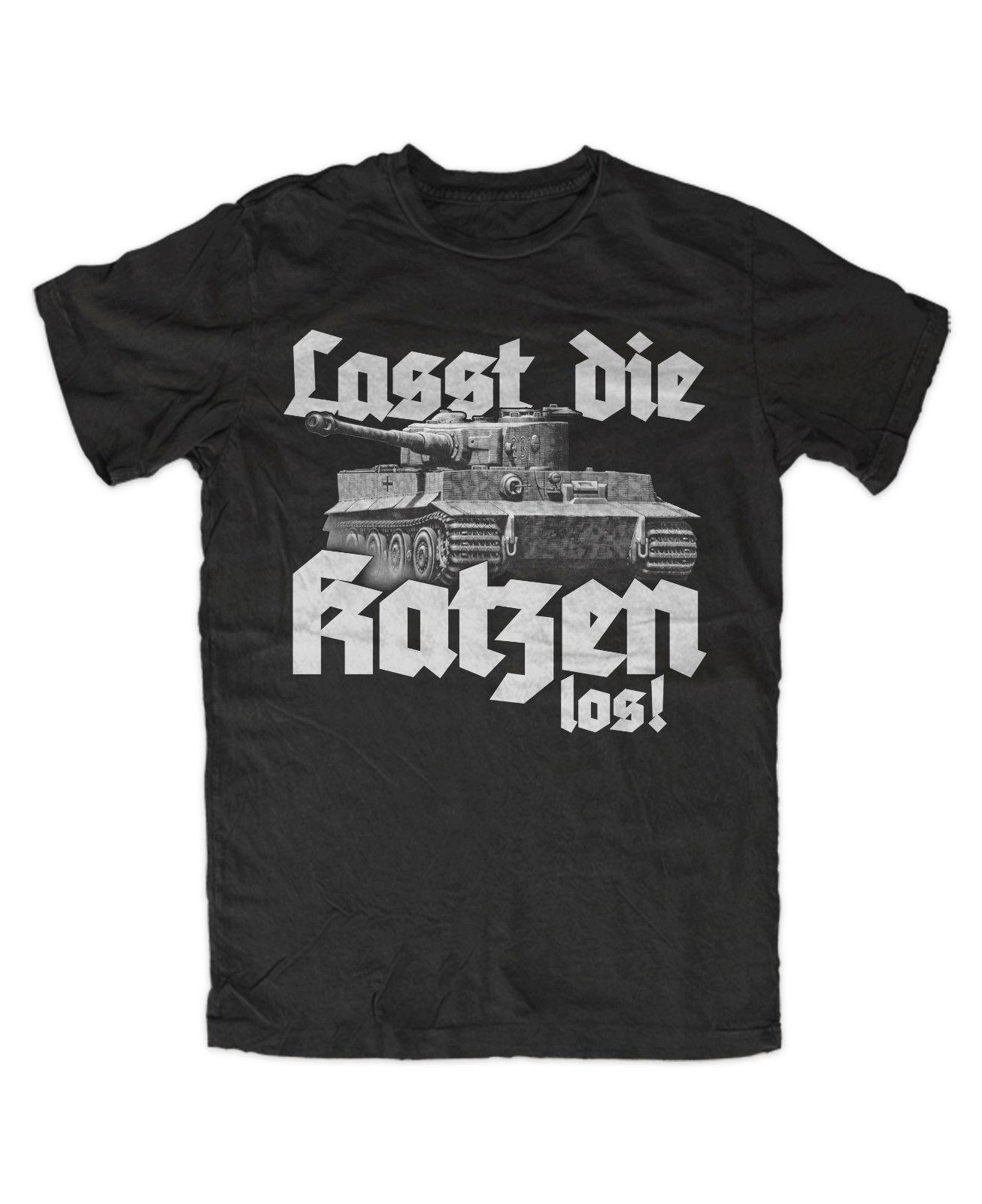 Lasst die Katzen los 2 T-Shirt schwarz, Katze, Panzer, ,Tiger