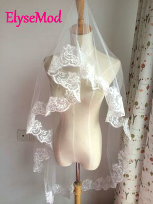 One Layer Bridal Wedding Veil White Ivory Bridal Accessories With Appliques Cheap Wedding Accessories