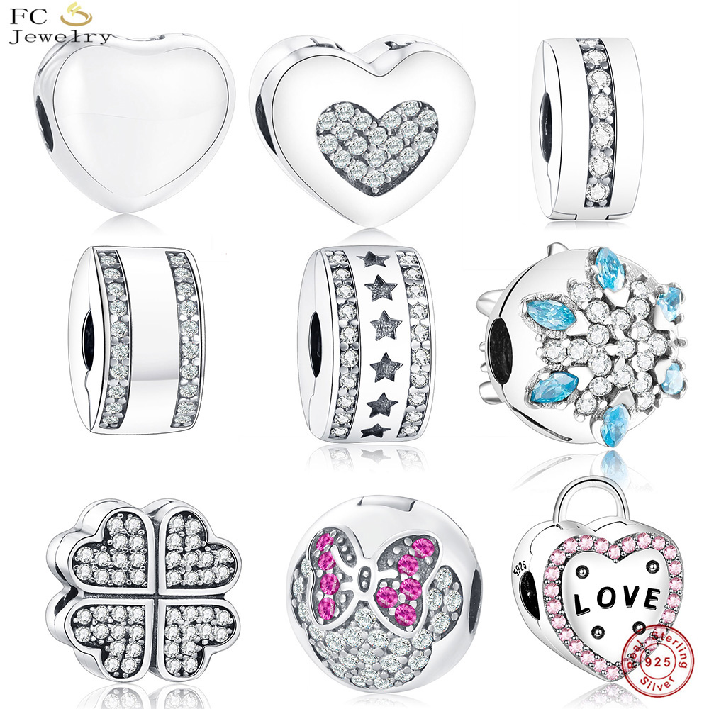 FC Jewelry Fit Original Pandora Charms Bracelets 925 Sterling Silver Star Clock Flowers Clip Stopper Beads Heart DIY Berloque