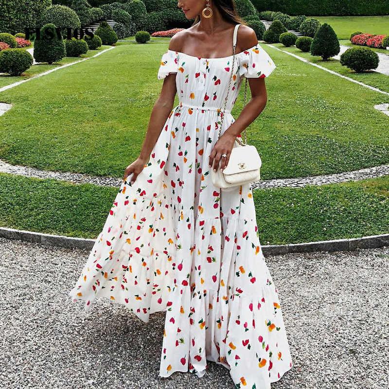 cefb877a311ee ELSVIOS Women Sexy Strapless Floor Length dress Floral printed Boho ...