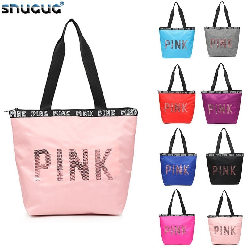 SNUGUG Waterproof Fitness Bag For Training Outdoor Women's Sport Bag Nylon Ladies Handbags Travel Portable Pink Gym Bags Women