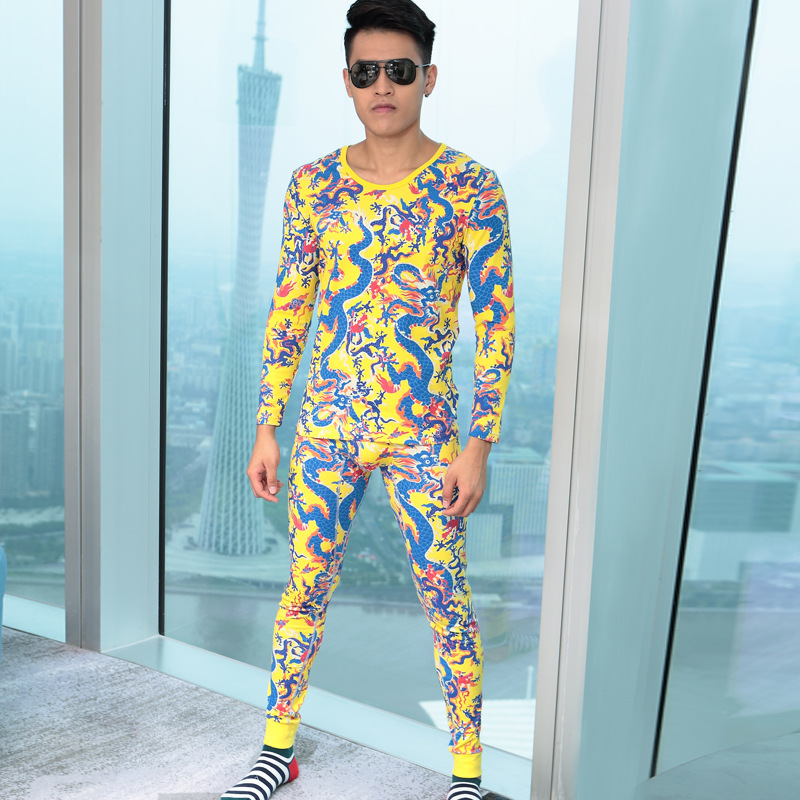 New Fashion High Quality Men Thermal Underwear Set Winter Warm Dragon Printed Elastic Force Long Johns Suit