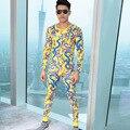 Nova moda de alta qualidade homens dragão impresso elastic força térmica underwear set inverno quente long johns suit