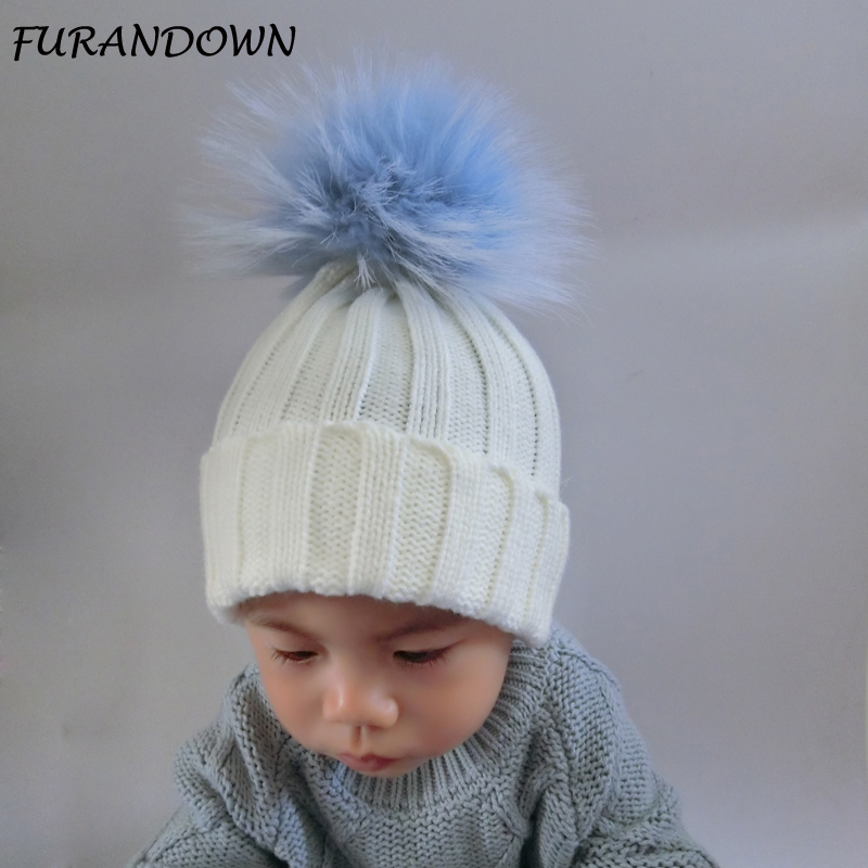 FURANDOWN Children's Cap Baby Winter Hat Pom pom Beanie Colorful Fur Pompom Hat For Kids