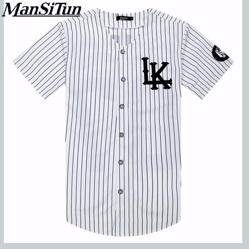 Man si Tun New Summer Style Mens   T     shirts   Fashion 2017 Streetwear Hip Hop baseball jersey striped   shirt   Men Clothes tyga M-XXL