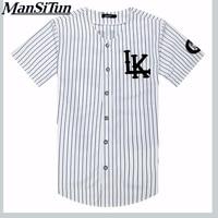 Man si Tun Nieuwe Zomer Stijl Heren t-shirts Fashion 2017 Streetwear Hiphop baseball jersey gestreepte overhemd Mannen Kleding tyga M-XXL