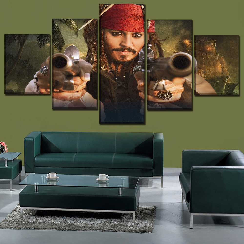 High Quality Canvas Printed Painting Movie Poster 5 Panel Pirates of the Caribbean On St ...