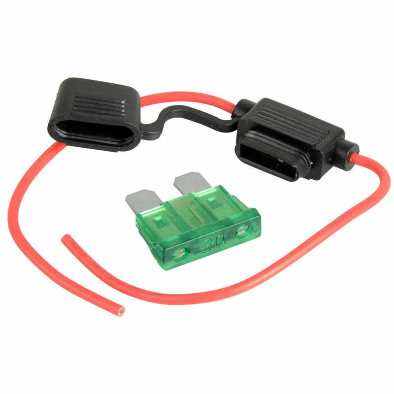 1pc hot 30a waterproof power supply fuse socket online 30a +14awg wire  copper power blade
