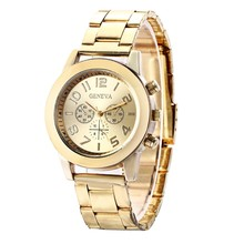 2017 New Brand 3 Eyes Gold Geneva Casual Watch Men Stainless Steel Quartz Watches Relogio Feminino Clock Hot Christmas Gift