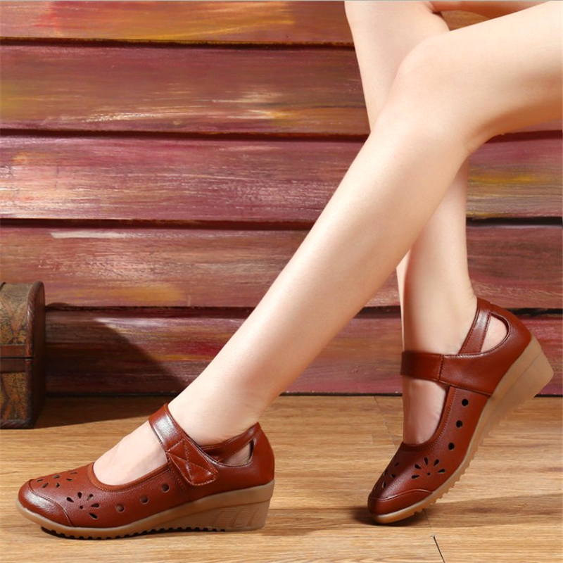 76f93759 Spring fashion women shoes mother hollow 4.5cm slope with soft bottom  anti-slip comfortable dancing shoe
