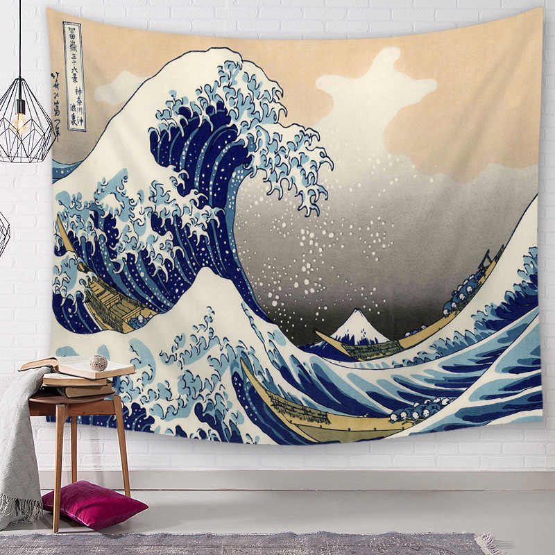 polyester fabric vintage wall decoration japanese style tapestry sun and ocean hanging art sea wave tapiz tenture mural