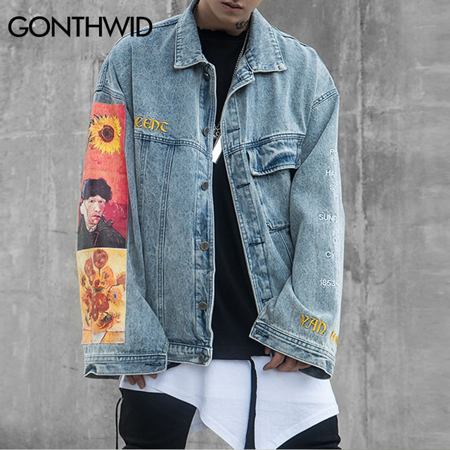 GONTHWID Van Gogh Painting Patchwork Embroidery Denim Jackets Hip Hop Casual Loose Jean Jackets Streetwear Fashion Outwear Coats 3
