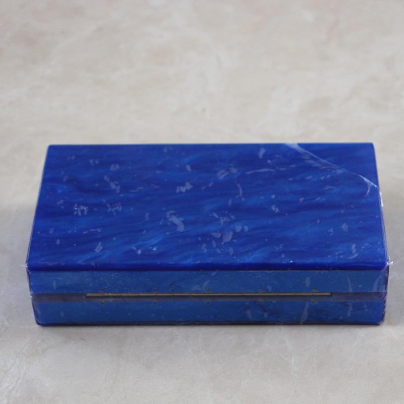 Caja De Acrílico de Color Azul perla Embrague Bolsa Mujeres Bolso de Noche Del B