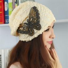 Summer Autumn Women Sequin Butterfly Hat Lace Turban Beanie Woman Hollow Out Cap Chemo Gorros Bonnet Femme