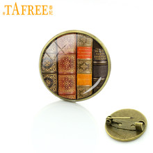 TAFREE The latest fashion Vintage old books bookshelf brooch Pins library scholar brooches Brand Jewelry Apparel badge C1025(China)