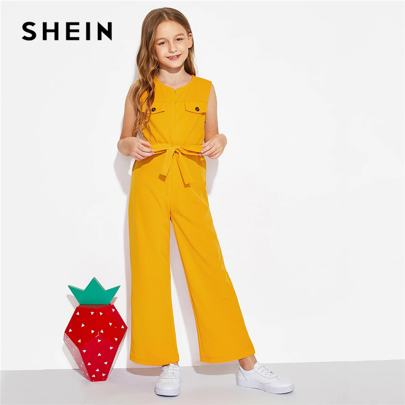 SHEIN Kiddie Ginger Zipper Front Boho Girls Jumpsuit With Belt 2019 Summer Sleeveless Vacation Casual Wide Leg Kids Jumpsuits button front wide leg pants