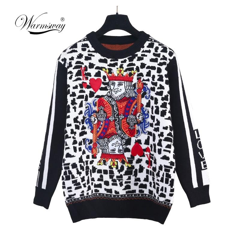 Игральные карты свитер модный свитер женский на осень-зиму Леопард жаккард пуловеры покер K вышивка тянуть C-261