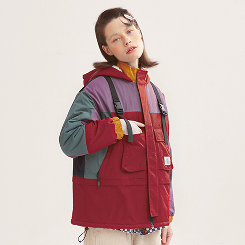 Fashion Design Women Spring Jackets Hooded Color Block Loose Ladies Hit Color Patched Pocket Thick Winter