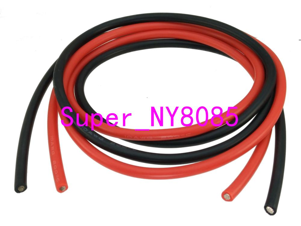 1meter Black +1meter Red <font><b>Silicon</b></font> <font><b>Wire</b></font> <font><b>10AWG</b></font> 12AWG 14AWG 16AWG 20AWG 22AWG Heatproof Soft Silicone Silica Gel <font><b>Wire</b></font> Cable image