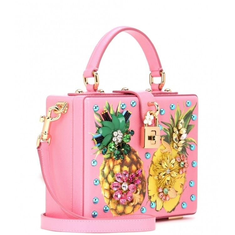 Luxury Designer Handbag Genuine Leather Women Pineapple Embellished Box Tote Bag (5)