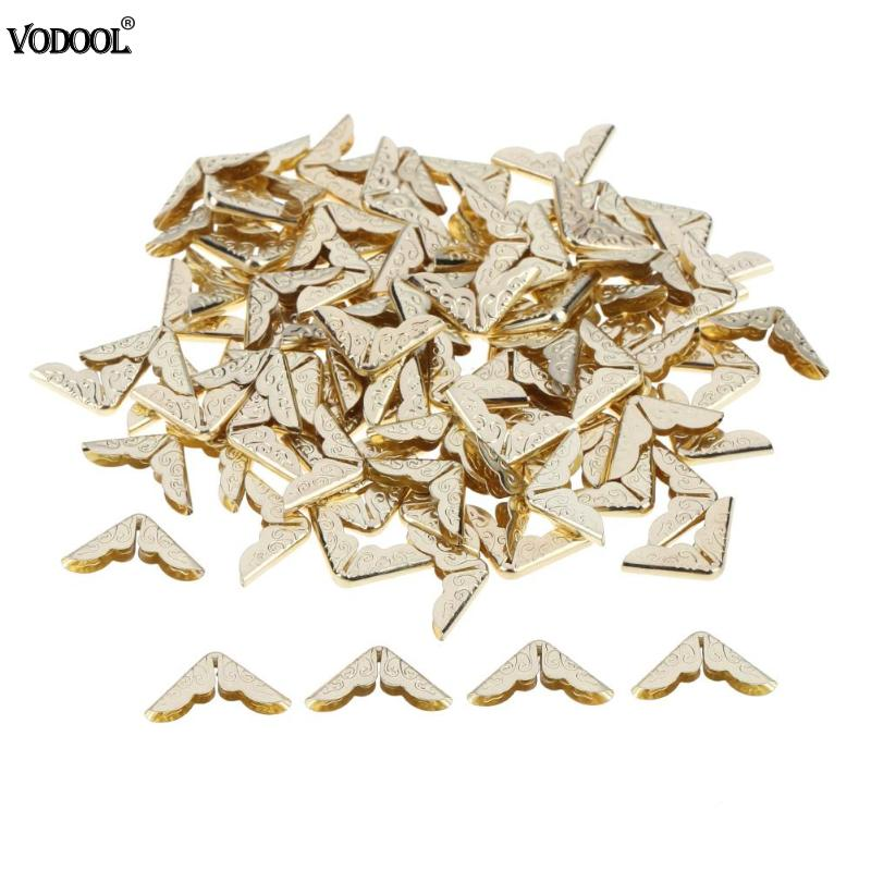 100pcs Metal Book Corner Protectors Tone Scrapbooking Albums Corner Protectors Card File Menu Metal Corners Book